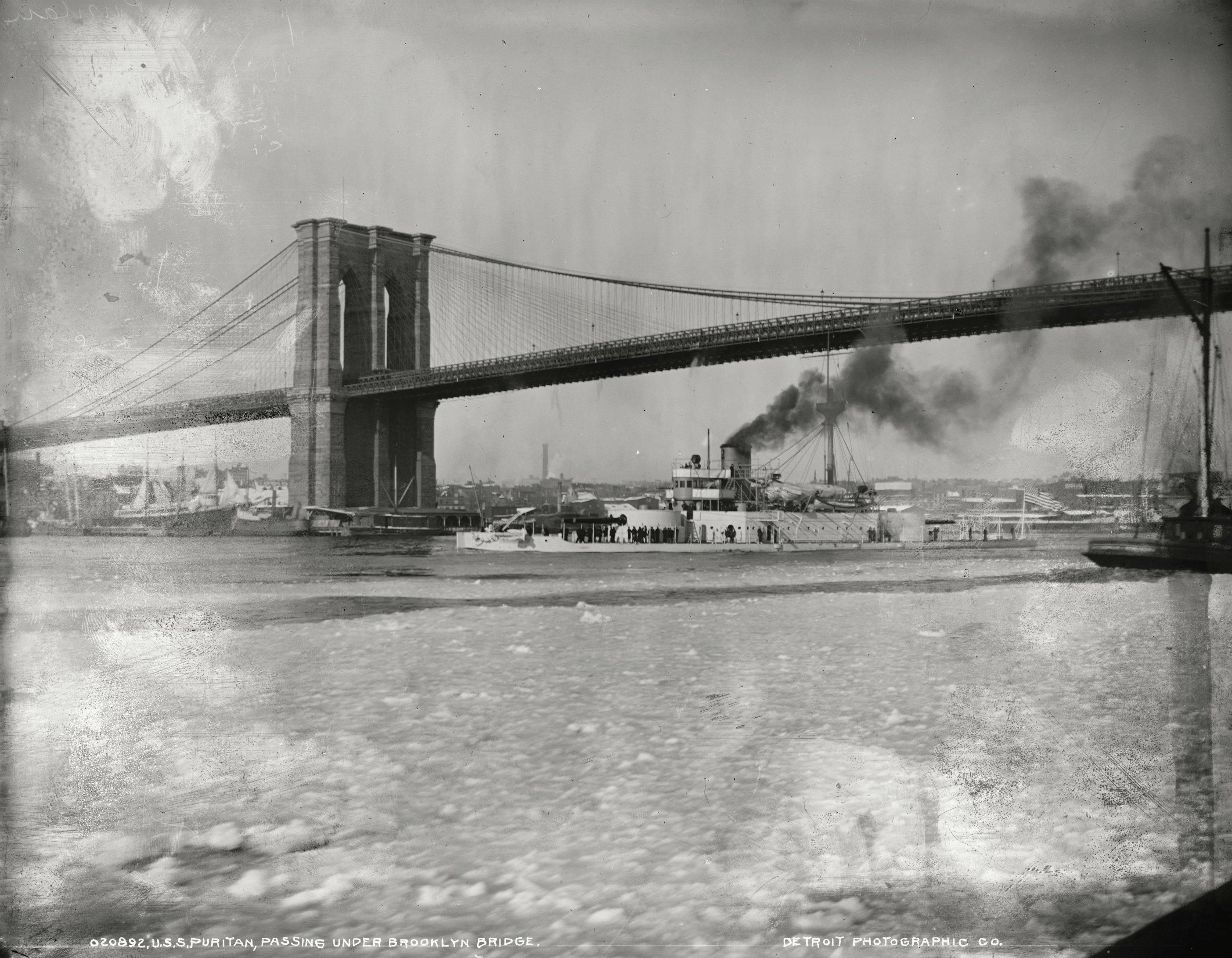 U.S.S. Puritan passing under the Brooklyn Bridge, by Edward H. Hart, ca.1890-1901