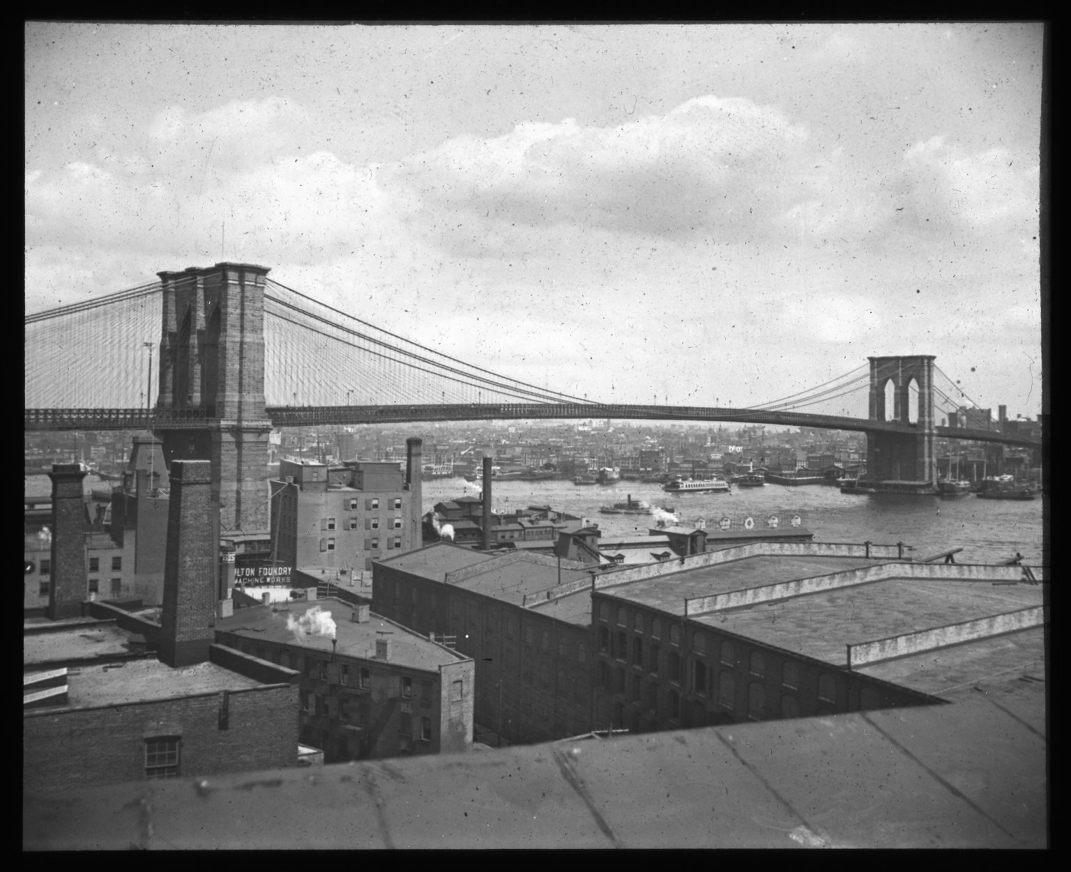 View from 'Waterview' flats. Collection- Lantern Slide Collection Views- U.S., Brooklyn Brooklyn Bridge 1896-1900