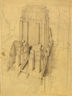 Architectural sketch by Hugh Ferriss, early 1930s