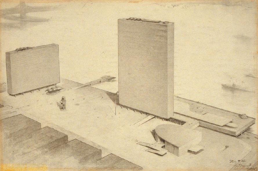Hugh Ferriss' architectural sketches, 1915-1960