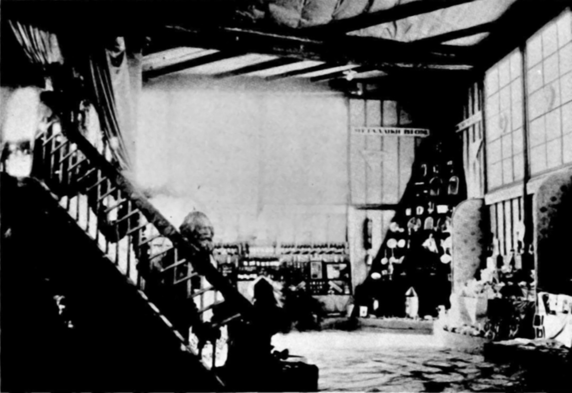 Ground floor to the interior of Mel'nikov's pavilion, featuring a bust of Marx.