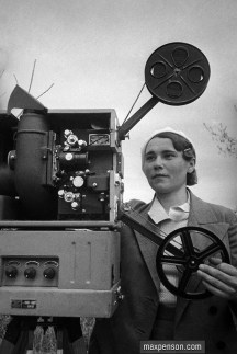 A female projectionist. 1930s.