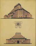 Aleksei Shchusev. Lenin Mausoleum, 87.4 × 66.7cm. First version of the final project, 1929-1930. Floor plan, facade, perspective. Ink and gouache on paper.