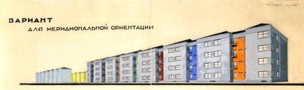 Leningrad : Housing quarter : Kondratyevsky & Polustrovsky prospects (Kondratyevvsky residential block) :: D. P. Burishkin, L. M. Tverskoy, L. D. Akopova, O. I. Rudneva, associate N. D. Katzenelenbogen : Competition entry Perspective 1928