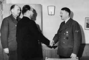 Subhash Chandra Bose and Adolf Hitler, Reich Chancellery, Berlin, Germany, 29 May 1942