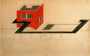 Farkas Molnar, project for a single-family house Der rote Wiirfel (The red cube) Presentation drawing 1923, Ink and gouache on board, 59 x 91,5cm