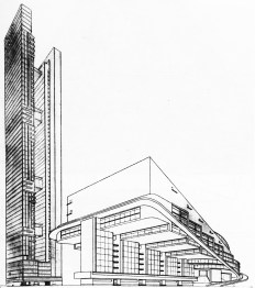 G. Glushchenko, Diploma project on the theme %22House of the Unions%22 (for 10,000 people), 1928 studio of Nikolai Ladovskii, perspective view