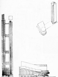 G. Glushchenko, Diploma project on the theme %22House of the Unions%22 (for 10,000 people), 1928 studio of Nikolai Ladovskii, profile view