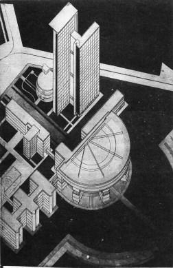 Lidiia Komarova, Diploma project on the theme of the Comintern building, studio of Nikolai Dokuchaev 1929, axonometric view