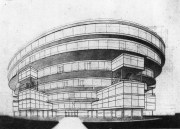 Lidiia Komarova, Diploma project on the theme of the Comintern building, studio of Nikolai Dokuchaev 1929, perspective view