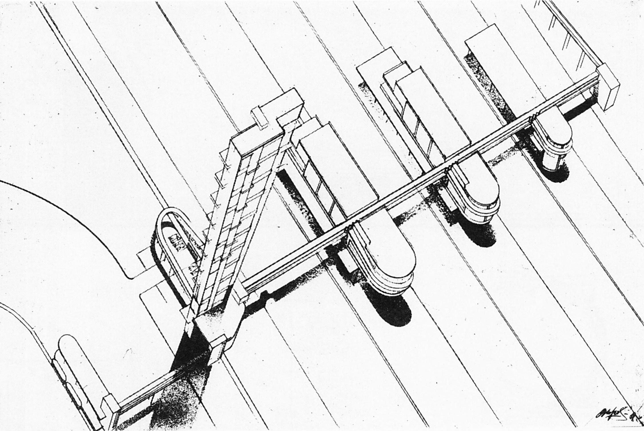 Suvorov, studio of Nikolai Ladovskii, perspective view of a train station in Saratov, 1929