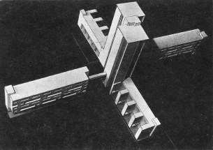 V. Lavrov, Diploma project on the theme of the New City, studio of Nikolai Ladovskii (1928), housing-commune model