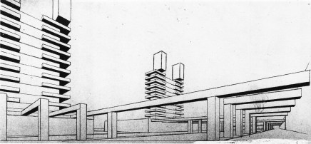 """V. Popov, Diploma project on the theme of the """"New City"""" (1928), studio of Nikolai Ladovskii, perspective view of the administrative center"""
