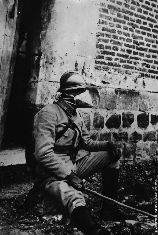 1916. A French officer wearing a new anti-gas mask