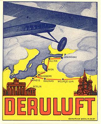 Luggage label for Deruluft Airlines (Deutsch-Russische Luftverkehrsgesellschaft), circa 1929. Luggage label, printed by Gandruck, Berlin.