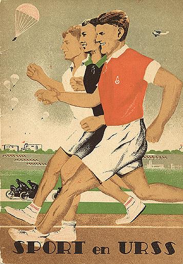 Travel brochure «Sport en URSS» circa 1937. Published by Intourist. Socialist realism.