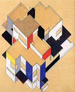 Hotel Particulier, 1923, & Counter-construction, 1924, Theo van Doesburg and Cornelis van Eesteren.