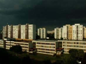 Petržalka, a neighborhood in Bratislava, Slovakia Plattenbauten just after a storm