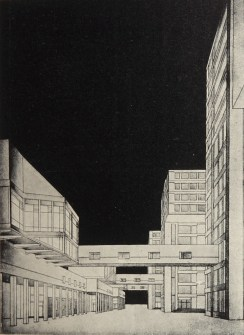 Controlled work, building for the arts school at VKhUTEMAS, work of the student TN Varentsova, studio Nikolai Dokuchaev 1927a