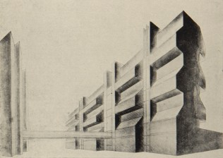 Controlled work, building for the VKhUTEMAS art school, Student SA Gel'feld, 1927, under Nikolai Dokuchaev