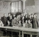 First year Vkhutemas students in class, at the table center sisters V and N Kolpakova 1926