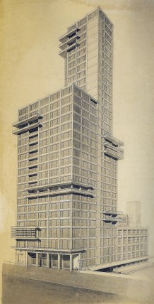 "Walter Gropius and Adolf Meyer: Competition Entry for ""Chicago Tribune"" Tower (1922). Sketch, dynamic perspective."