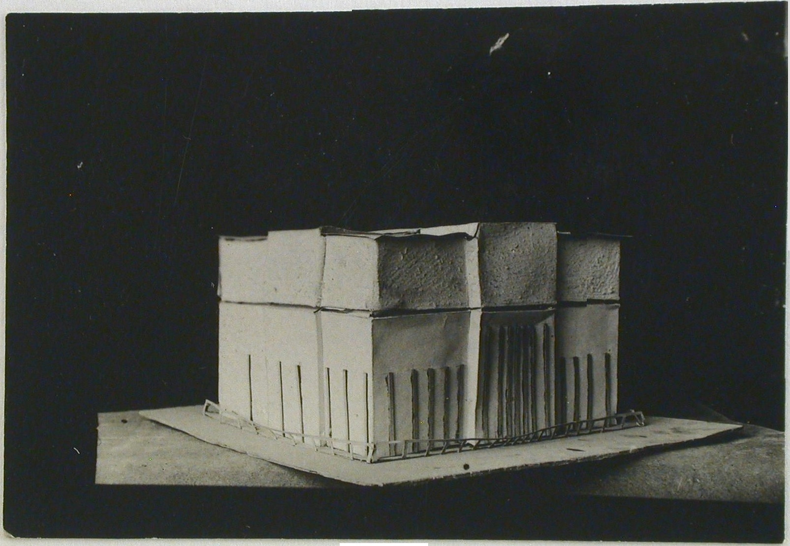 Photograph of a student model on the topic %22Finding the Form of Blunt Massive Volume (Parallelepiped, Cylinder, Complex Configuration)%22 for the %22Space%22 course at the Vkhutemas (Higher State Artistic Technical Studios), Moscow between 1920-1926j