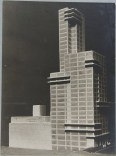 "Walter Gropius and Adolf Meyer: Competition Entry for ""Chicago Tribune"" Tower (1922). Model, dynamic perspective."