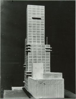 "Walter Gropius and Adolf Meyer: Competition Entry for ""Chicago Tribune"" Tower (1922). Model, rear view."