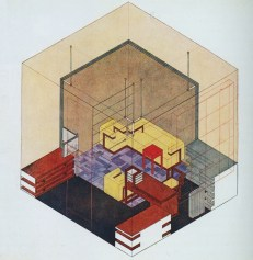 Herbert Bayer - Isometric drawing of Walter Gropius's study in the Weimar Bauhaus (1923)