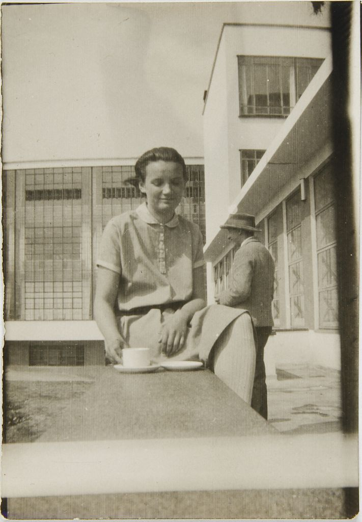 Leo Baron (1897 - 1945) Gertrud Herold Seated on Bauhaus Terrace, Dessau, 1929 Photograph German, 20th century Gelatin silver print 6.4 x 4.4 cm (2 1:2 x 1 3:4 in.)