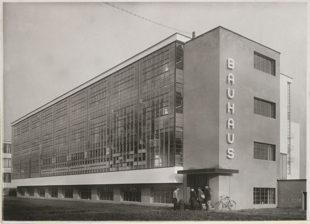 Unidentified photographer Bauhaus Building, Dessau, 1925-1926- Workshop wing, view from southwest [architect- Walter Gropius], c. 1926 Gelatin silver print mounted to cream wove paper image 11.5 x 16.1 cm