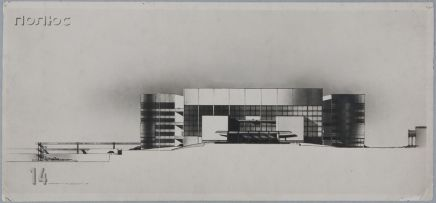 Walter Gropius Competition Entry for Palace of the Soviets, Moscow, 1931- Elevation, c. 1931a