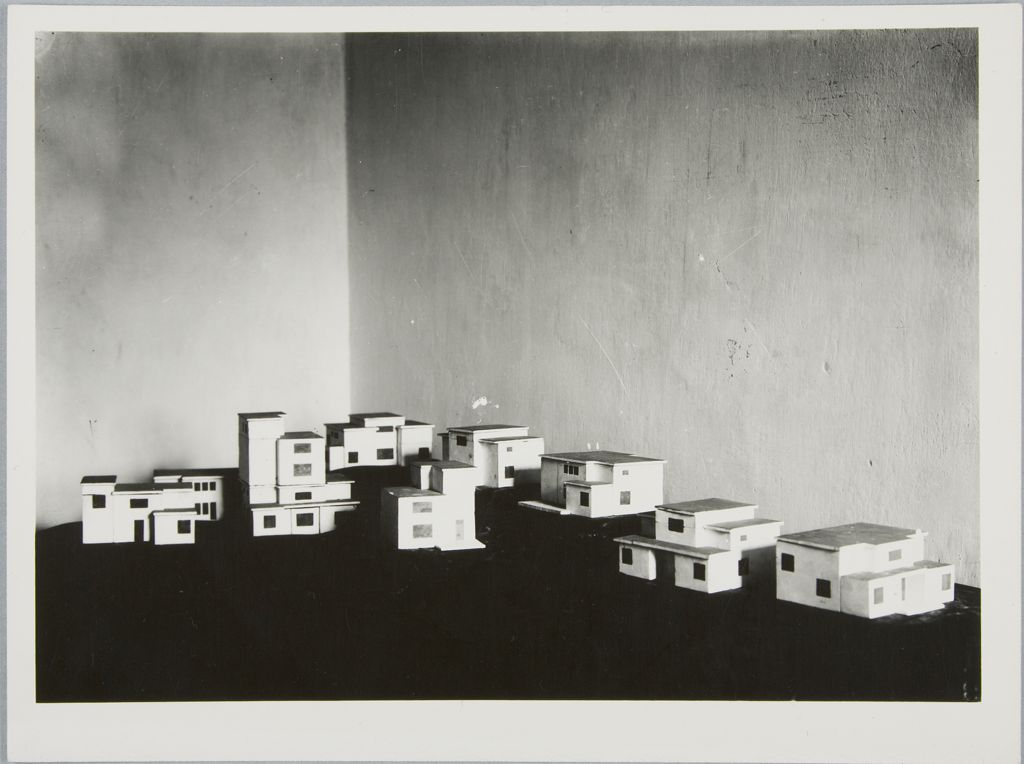 Walter Gropius Fréd Forbát Bauhaus Housing Development %22Am Horn,%22 Weimar, 1920-1922- Models, c. 1920-1922 Photograph German, 20th century Gelatin silver print sheet- 18 x 24 cm (7 1:16 x 9 7:16 in.) image- 16 x 22.4 cm
