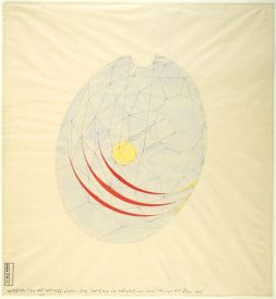 Walter Gropius Total Theater for Erwin Piscator, Berlin, 1927- View into shell- View from below of the dome structure (blue); the rings and hanging stage (yellow); view of the rings (red), 1927