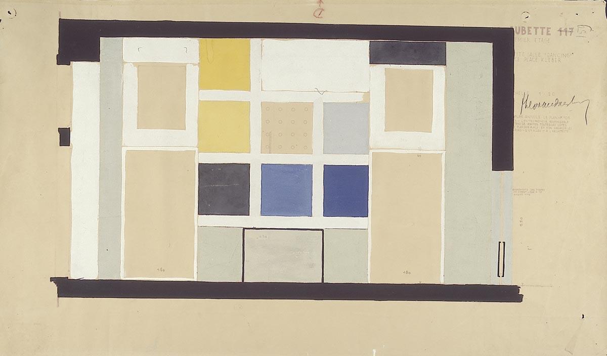 kleurontwerp voor wand, kant Place Kléber, Grote Feestzaal, Aubette