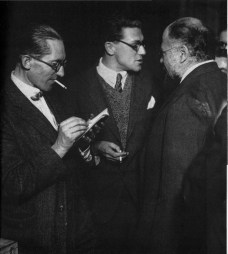 Le Corbusier with Soviet avant-garde architects Andrei Burov and Aleksandr Vesnin in Moscow, 1928. — with Le Corbusier and Alexander Vesnin