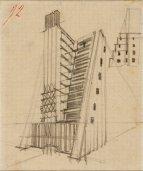 Casa a gradinata con ascensori esterni, studio prospettico e sezione