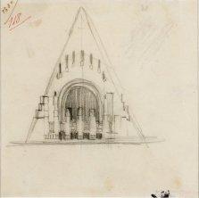 Edificio di culto con copertura a capanna studio per la facciata