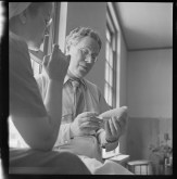Carlotta Corpron (1901-1988); [Man and Student Looking at Object]; nitrate negative; Amon Carter Museum of American Art; Fort Worth TX; P1988.18.285