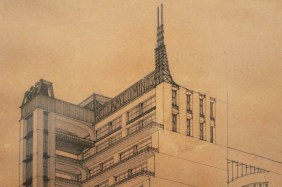 Setback High-Rise with Exterior Elevators and Internal Atrium with Parabolic Profile Antonio Sant'Elia, 1914