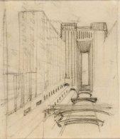 Studio per via secondaria con ascensori e passerelle pedonali a vari livelli