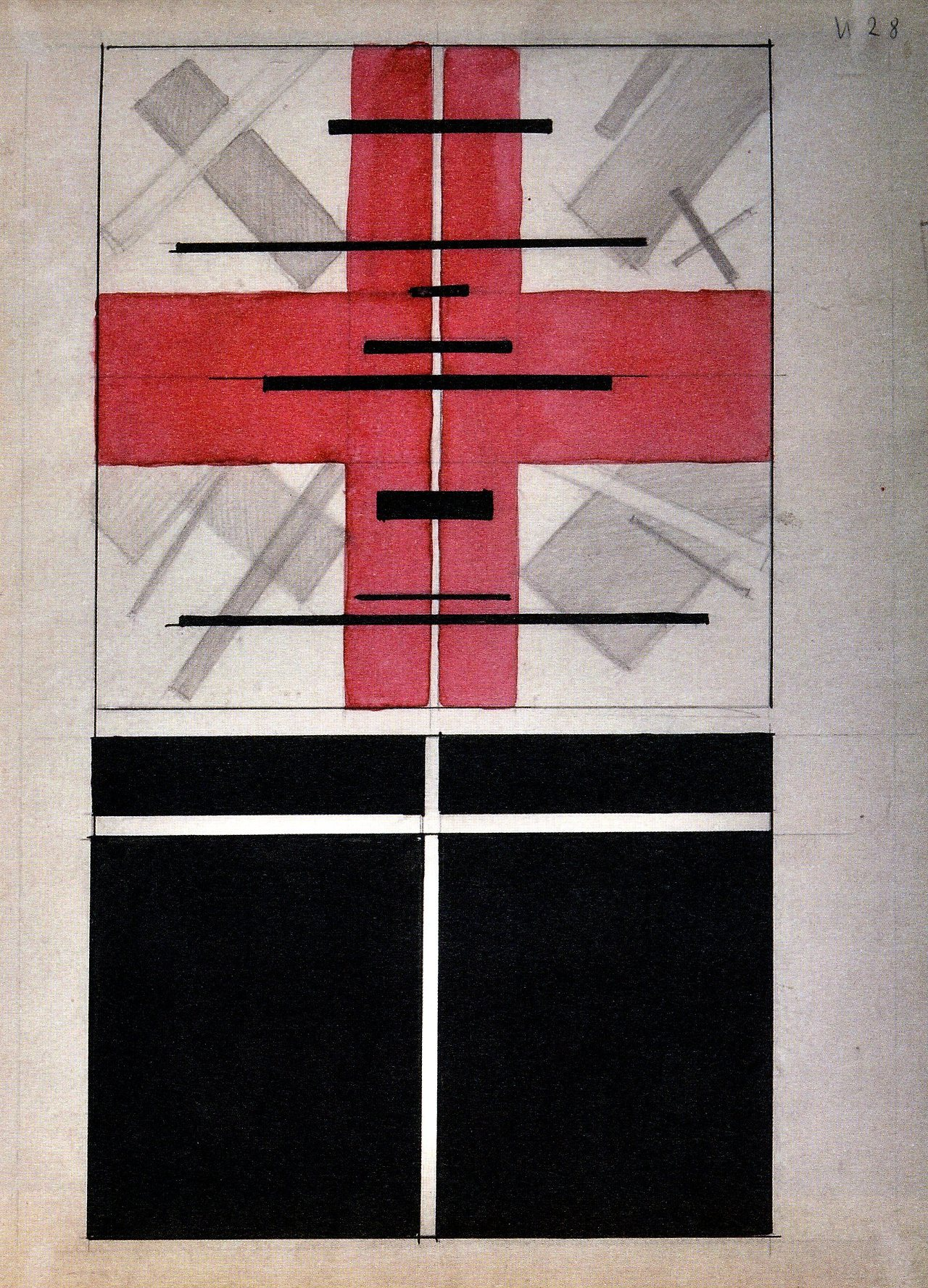 ilya chashnik - composition with pink cross (1928).