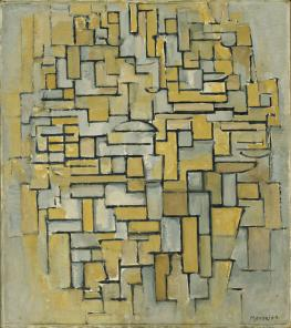 Piet Mondrian. (Dutch, 1872-1944). Composition in Brown and Gray (Gemälde no. II : Composition no. IX : Compositie 5). 1913. Oil on canvas, 33 3:4 x 29 3:4%22 (85.7 x 75.6 cm).