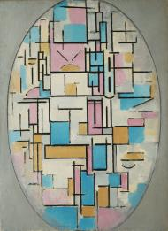 Piet Mondrian. (Dutch, 1872-1944). Composition in Oval with Color Planes 1. 1914. Oil on canvas, 42 3:8 x 31%22 (107.6 x 78.8 cm)