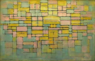 Piet Mondrian. (Dutch, 1872-1944). Tableau no. 2 : Composition no. V. 1914. Oil on canvas, 21 5:8 x 33 5:8%22 (54.8 x 85.3 cm). The Sidney and Harriet Janis Collection