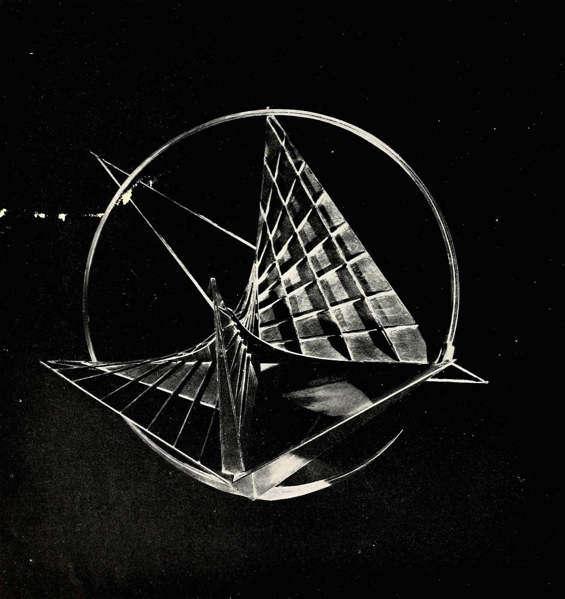 "Antoine Pevsner, construction (1935), oxidized brass on plastic, 27 x 25"""