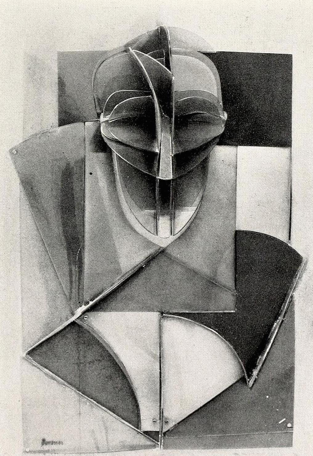 """Antoine Pevsner, portrait of Marcel Duchamp (1926), Celluloid on zinc, 37 x 25"""""""