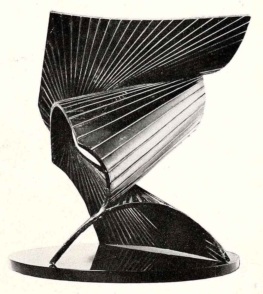 """Antoine Pevsner, projection into space (1938-1939), bronze, oxidized brass, and black marble base, 19"""" high 3"""