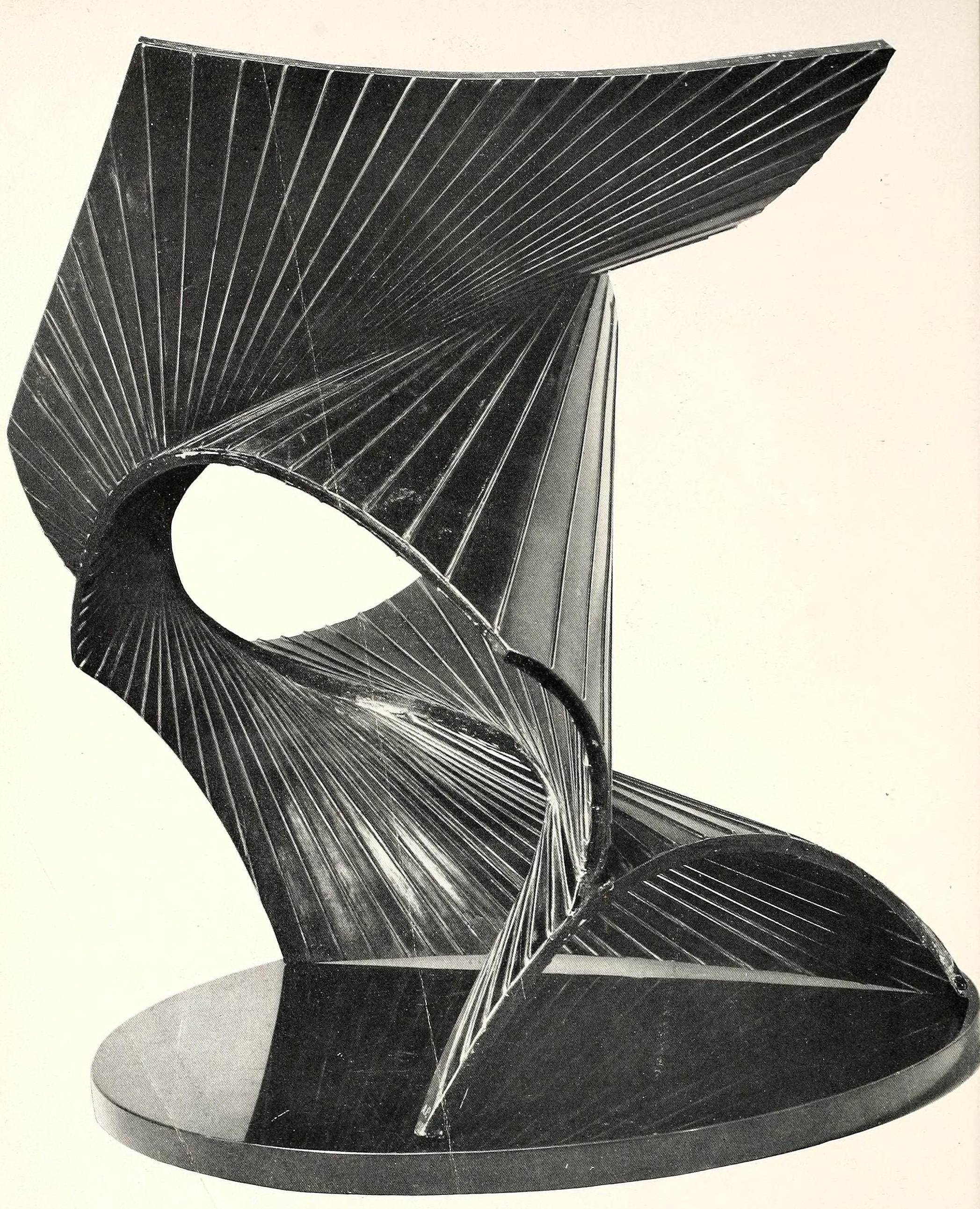 """Antoine Pevsner, projection into space (1938-1939), bronze, oxidized brass, and black marble base, 19"""" high"""